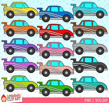 Rainbow Race Cars Clip Art image transparent