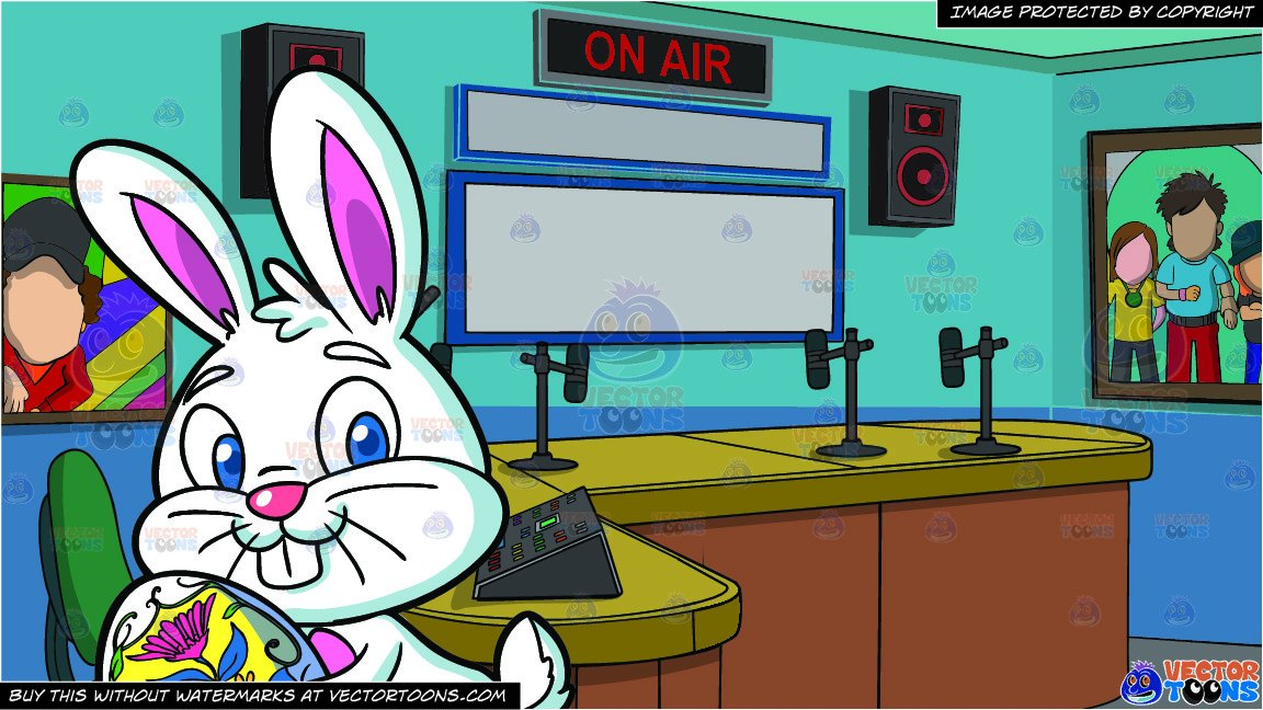 A Cute Looking Easter Bunny With An Egg and A Radio Station Studio Room  Background png stock