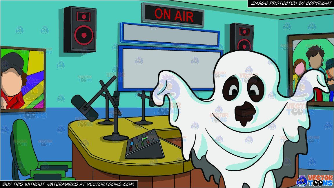 clipart #cartoon A Kid In A Ghost Costume and A Radio ... clip free