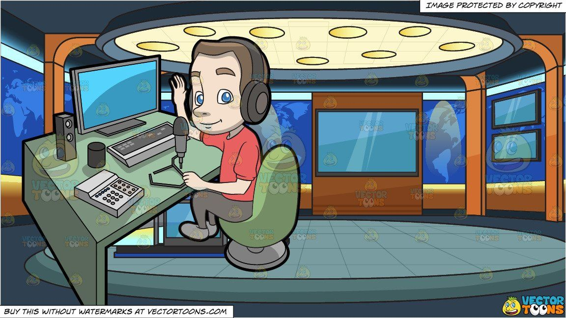 clipart #cartoon A Friendly Radio Host Recording A Podcast ... clip transparent