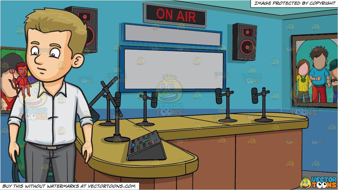 Devils Advocate and A Radio Station Studio Room Background clip art