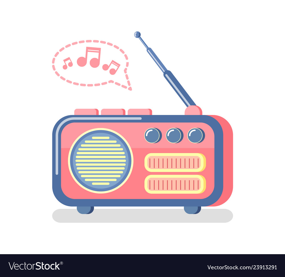 Radio with music notes clipart image freeuse Radio and playing music notes and waves icon image freeuse