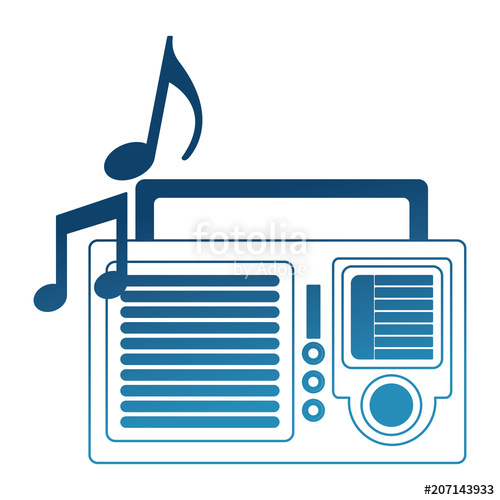 Radio with music notes clipart graphic stock radio with music notes retro style vector illustration ... graphic stock