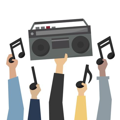 Radio with music notes clipart image stock Hands showing a retro radio and music notes illustration ... image stock