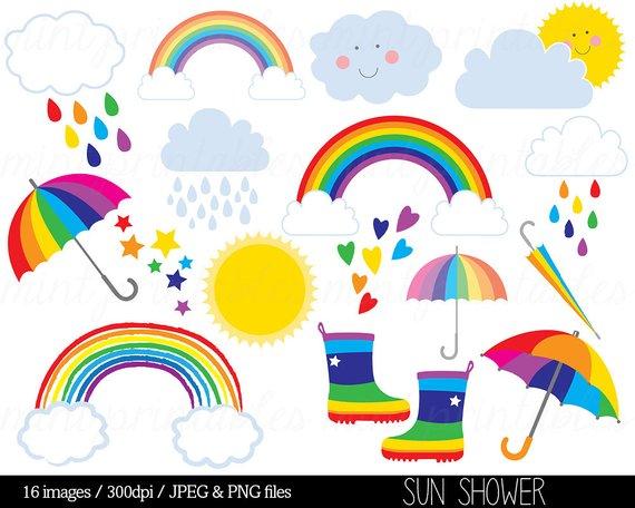 Rain shower of hearts clipart image transparent library Rainbow Clipart Clip Art, Rain Cloud Raindrops Sun Sky Stars ... image transparent library