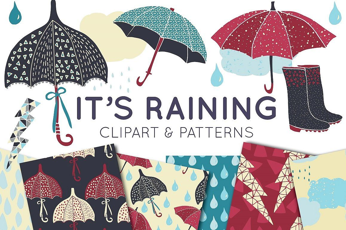 Umbrella & Rain Vector Clipart & Seamless Pattern Set vector royalty free library