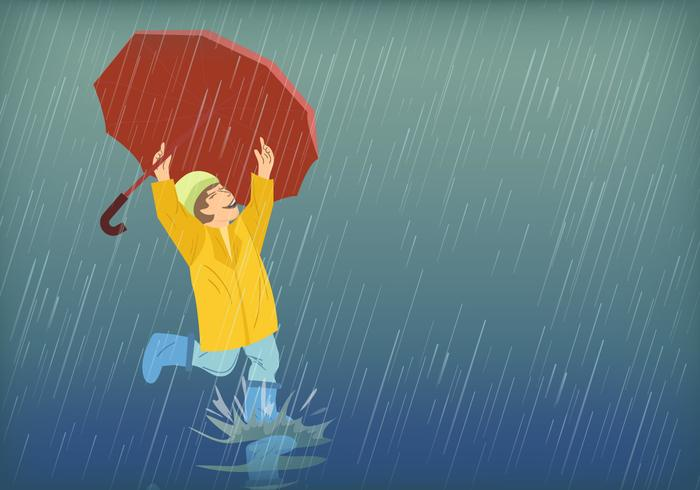 Kids Playing In Rain - Download Free Vectors, Clipart ... banner freeuse library