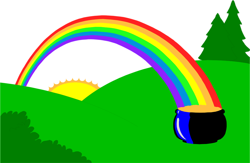 Rainbow and sun clipart royalty free stock Rainbow | Free Stock Photo | Illustration of a pot of gold at the ... royalty free stock