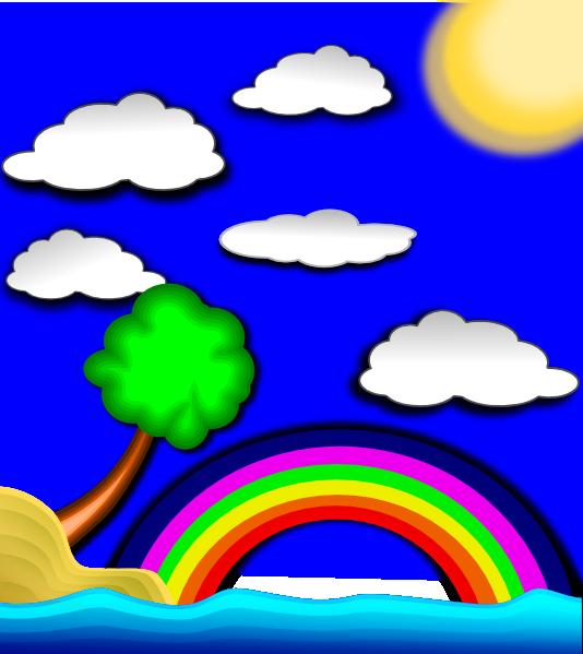 Rainbow and sun clipart large vector freeuse download Rainbow On Beach Clip Art at Clker.com - vector clip art online ... vector freeuse download