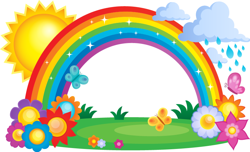 Rainbow and sun clipart png clip transparent download Rainbow Cloud Clip art - Rainbow sun painted flowers 821*498 ... clip transparent download