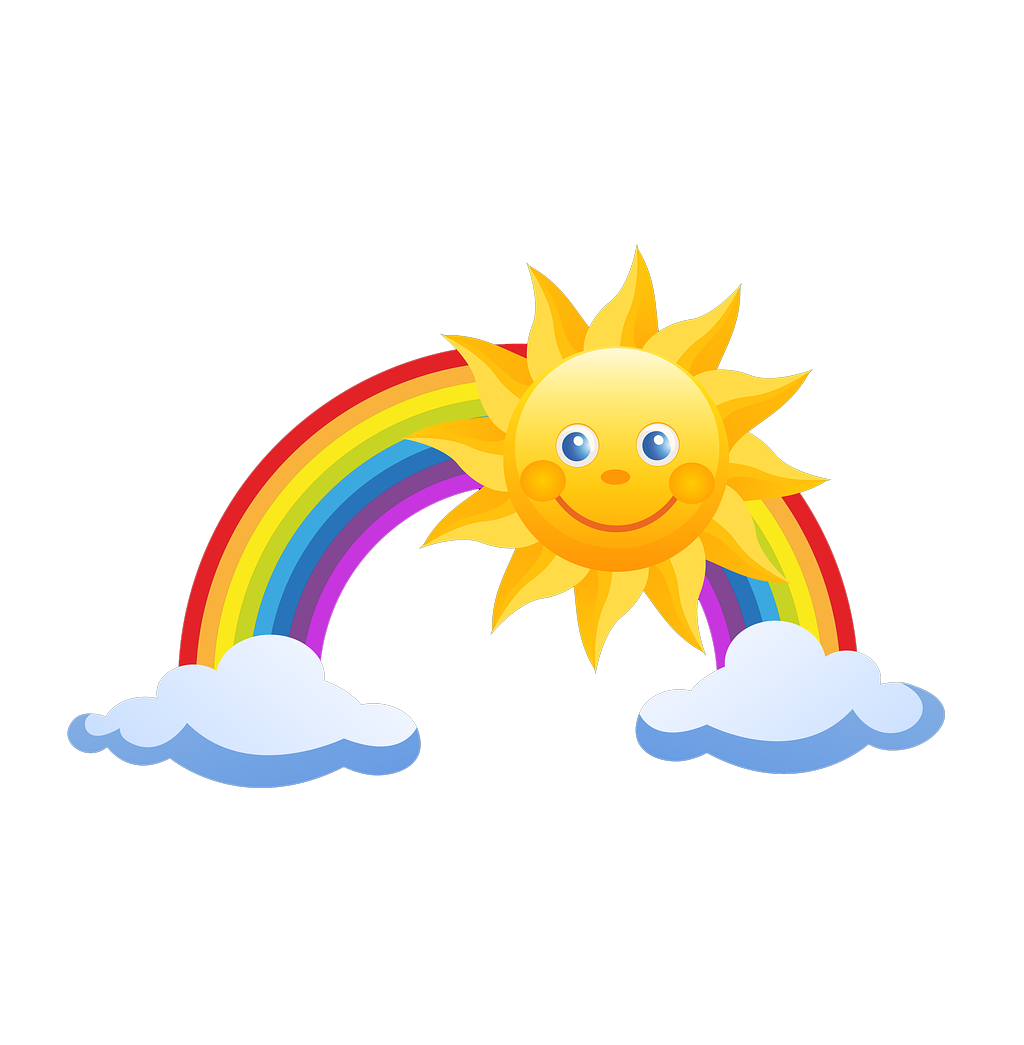 Rainbow and sun clipart png graphic freeuse download Rainbow Pixel Clip art - Cartoon seven colors rainbow sun clouds ... graphic freeuse download