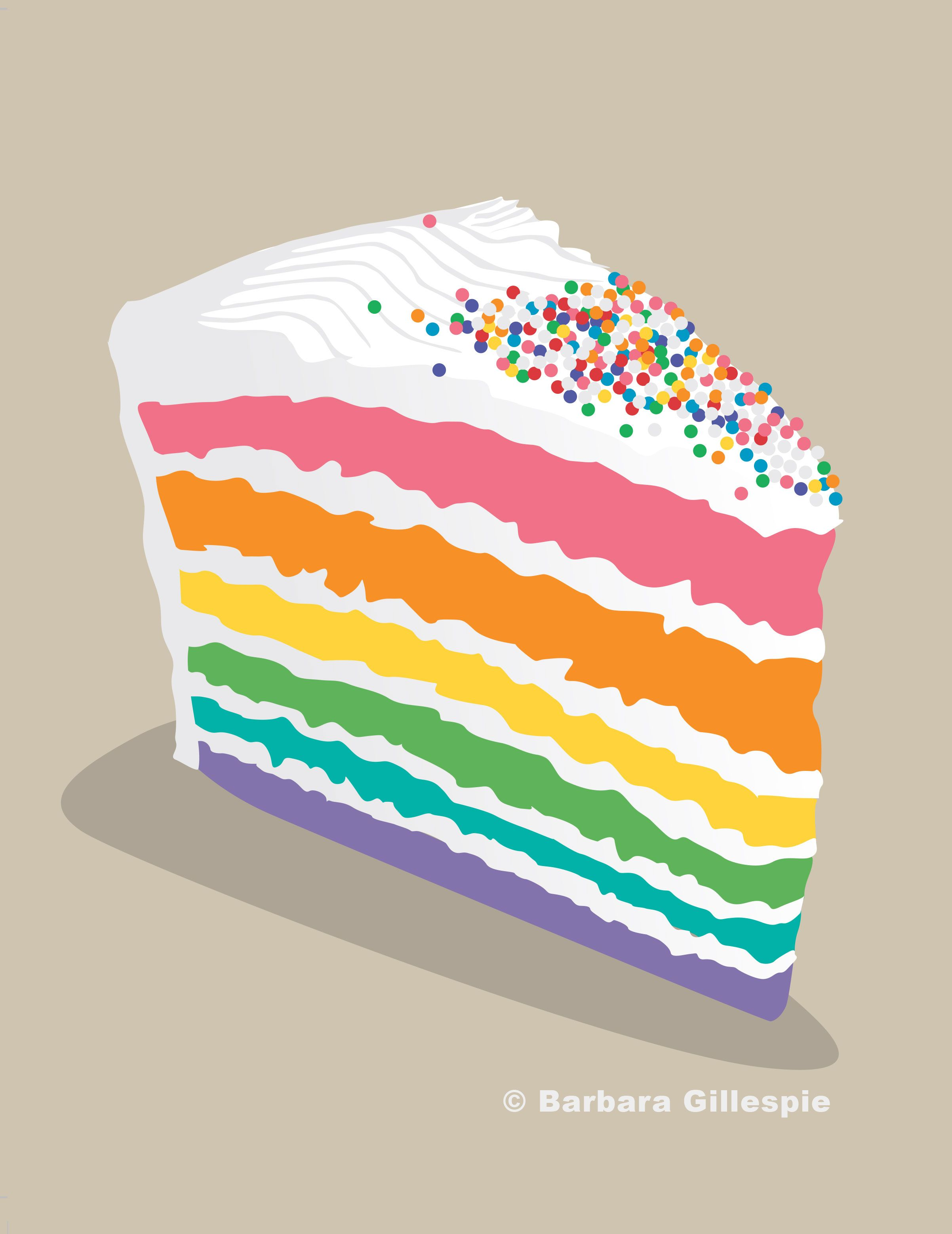 Rainbow Cake Print / Piece of Cake Print / Cake Art Print ... picture royalty free