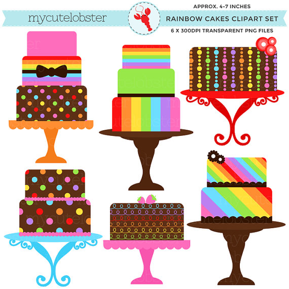 Rainbow Cakes Clipart Set - clip art set of cakes, rainbow ... graphic transparent library