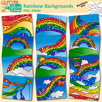Rainbow deck cards clipart jpg royalty free library Rainbow Backgrounds Clip Art: Task Card Landscape Scenes 1 {Glitter Meets  Glue} jpg royalty free library