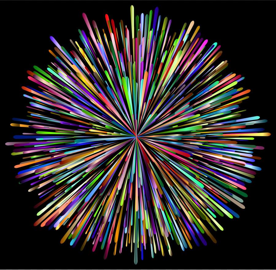 Rainbow fireworks clipart