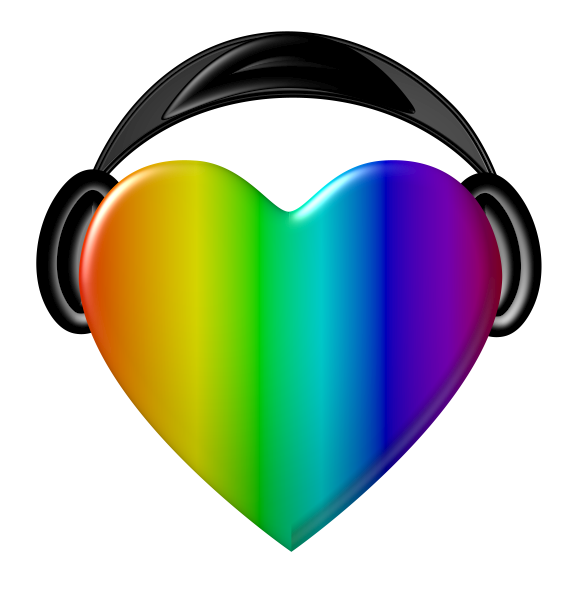 Rainbow heart clipart picture free download Rainbow Headphones   Free Images at Clker.com - vector clip art ... picture free download