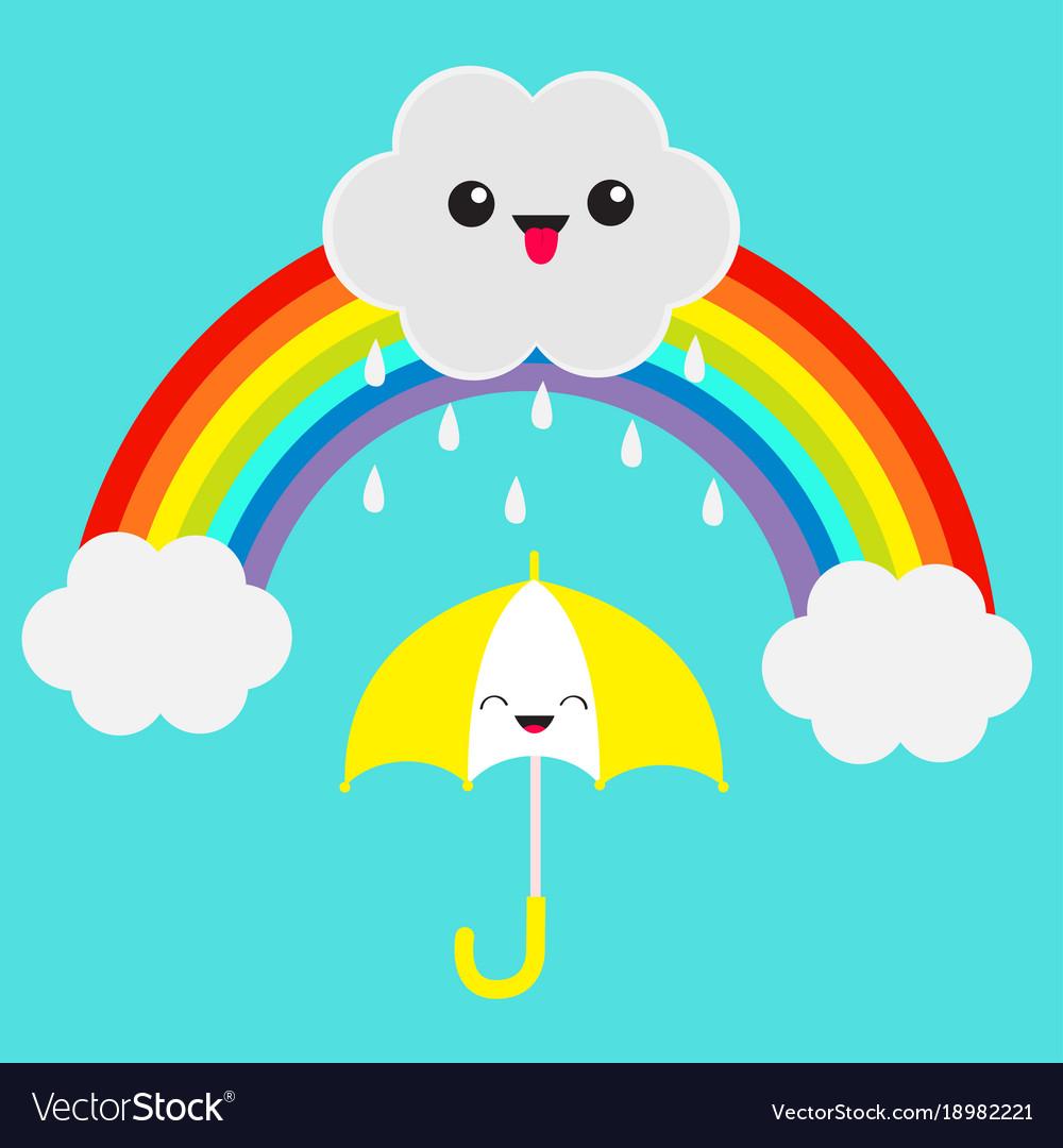 Rainbow rain clouds and umbrella free clipart transparent Rainbow cute cartoon kawaii cloud with rain drops transparent