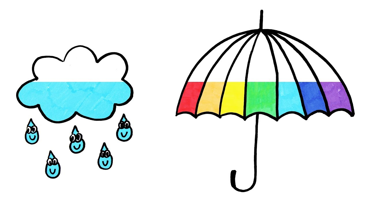 Rainbow rain clouds and umbrella free clipart clip library download How to Draw Rainbow Umbrella and Rain Cloud Coloring Page   Learn Colors  For Girls and Kids clip library download