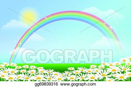Rainbow sky clipart clip art library EPS Illustration - Rainbow and daisies against blue sky ... clip art library