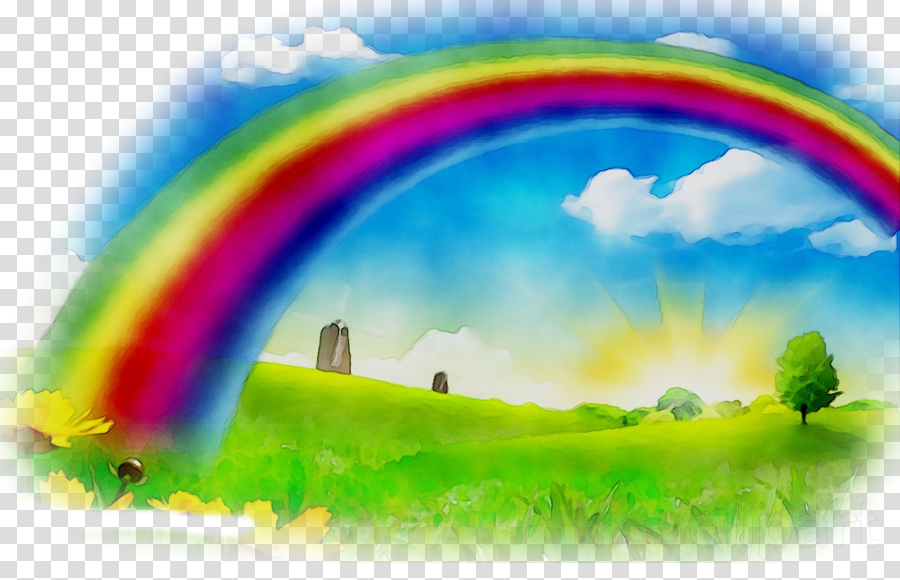 Rainbow sky clipart graphic freeuse download Rainbow, Sky, Landscape, transparent png image & clipart ... graphic freeuse download