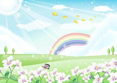 Rainbow sky clipart banner library library Free Fresh Nature Landscape with Rainbow Sky Clipart and ... banner library library