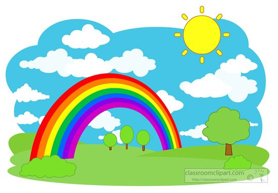 Rainbow sky clipart png library download Weather rainbow trees sky clouds scene classroom clipart ... png library download