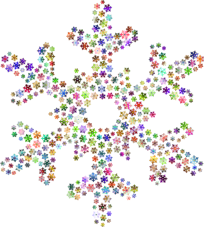 Rainbow snowflake clipart svg black and white library Clipart - Snowflake Fractal Prismatic No Background svg black and white library