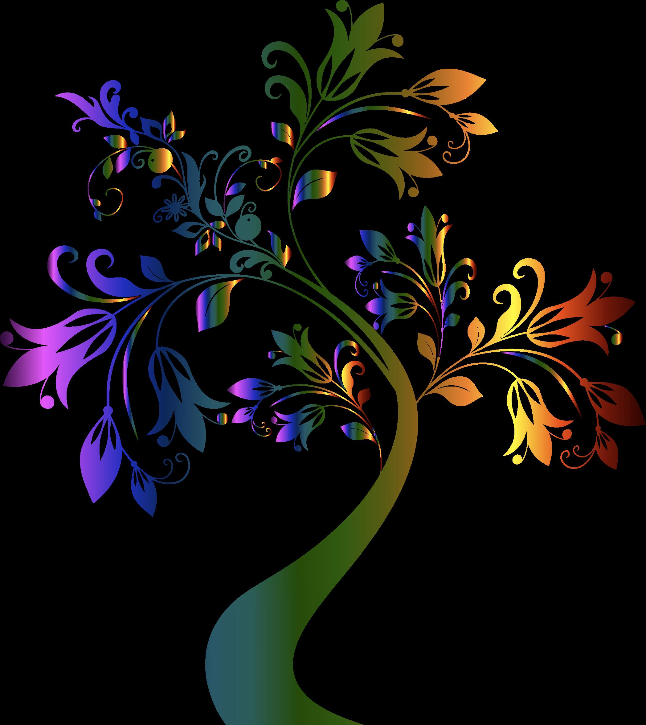 Rainbow tree clipart image free library Clipart - Colorful Floral Tree image free library