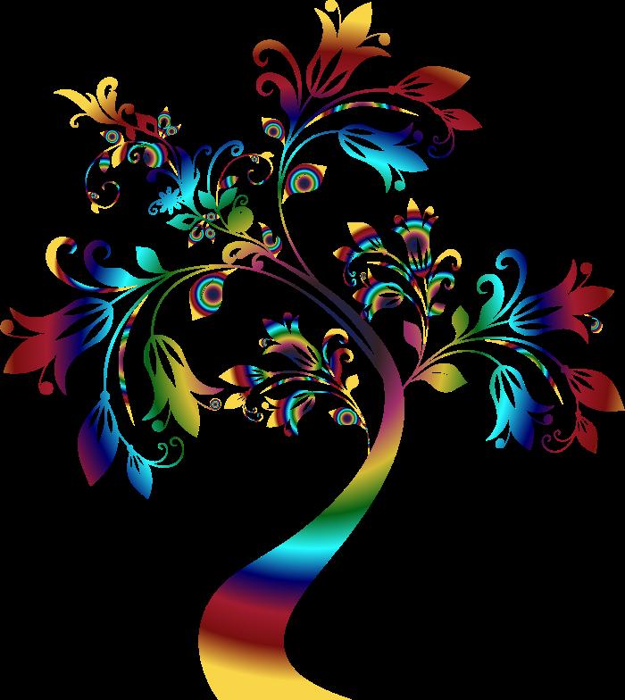 Rainbow tree clipart clip art free library Clipart - Colorful Floral Tree 3 clip art free library