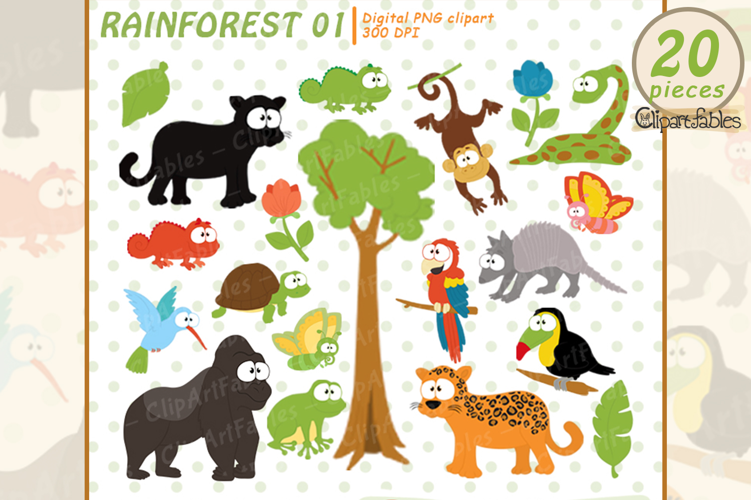 RAINFOREST clipart, Cute wild animals clip art, Jungle art picture freeuse