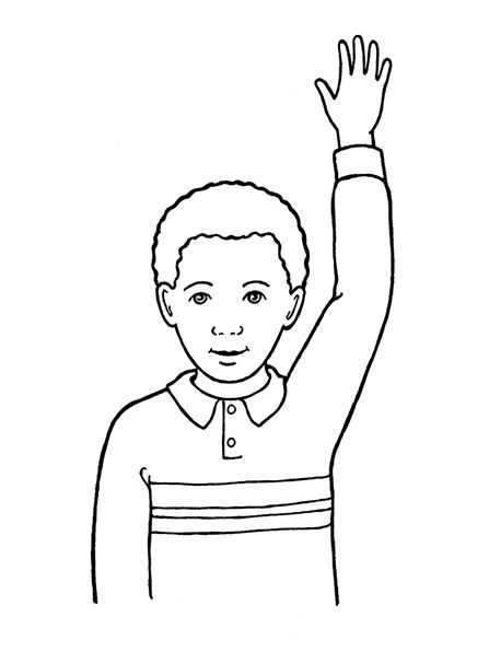 Raise your hand clipart black and white png library library An illustration of a young boy reverently raising his hand ... png library library