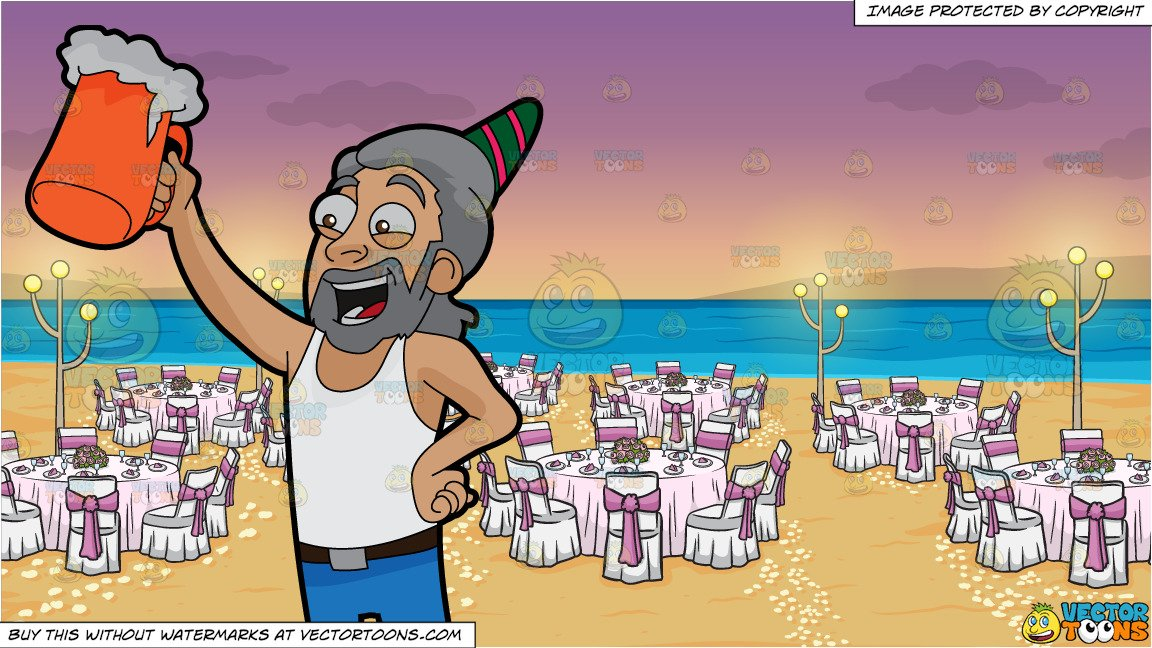 Raising a glass of beer in the air clipart graphic library A Man Raising A Beer Mug To Celebrate A Birthday and A Beach Wedding  Reception Background graphic library