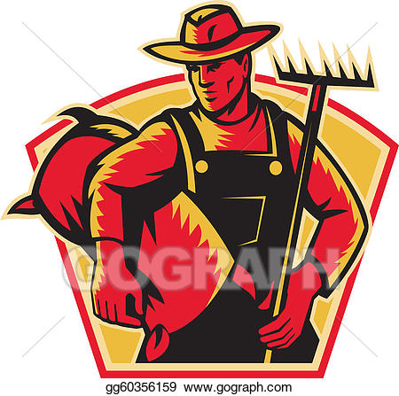 EPS Vector - Farmer agricultural worker with rak. Stock ... image transparent download