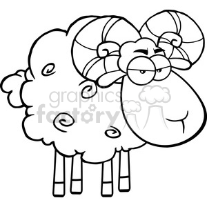 Ram clipart black and white vector black and white stock Royalty Free RF Clipart Illustration Black And White Angry Ram Sheep  Cartoon Mascot Character clipart. Royalty-free clipart # 395689 vector black and white stock