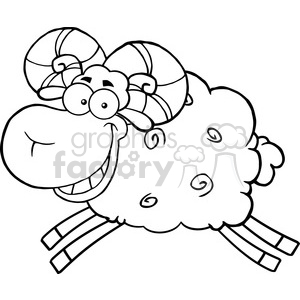 Ram clipart black and white clip black and white stock Royalty Free RF Clipart Illustration Black And White Ram Sheep Cartoon  Mascot Character Jumping clipart. Royalty-free clipart # 395503 clip black and white stock