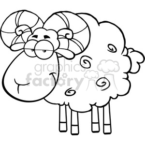 Ram clipart black and white clip art freeuse download Royalty Free RF Clipart Illustration Black And White Cute Ram Sheep Cartoon  Mascot Character clipart. Royalty-free clipart # 395610 clip art freeuse download