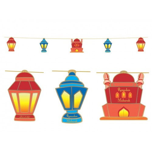 Ramadan decoration clipart picture freeuse Hanging Display – Lanterns (Red & Blue) picture freeuse