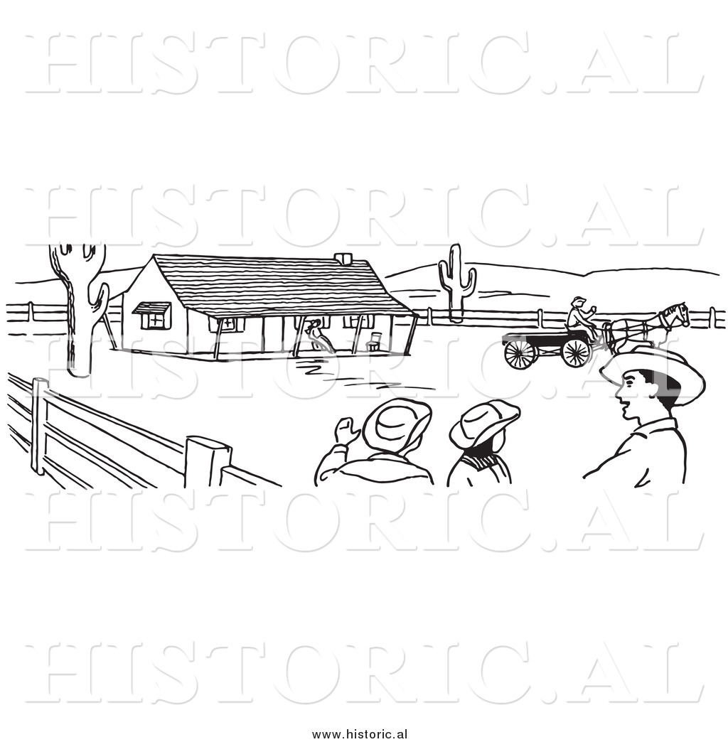 Ranch clipart black and white jpg royalty free download Clipart of Cowboys Talking on a Farm - Black and White Line ... jpg royalty free download