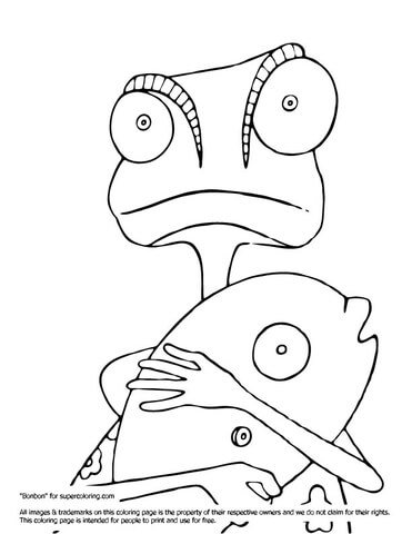 Rango clipart png freeuse Rango with Fish coloring page | Free Printable Coloring Pages png freeuse