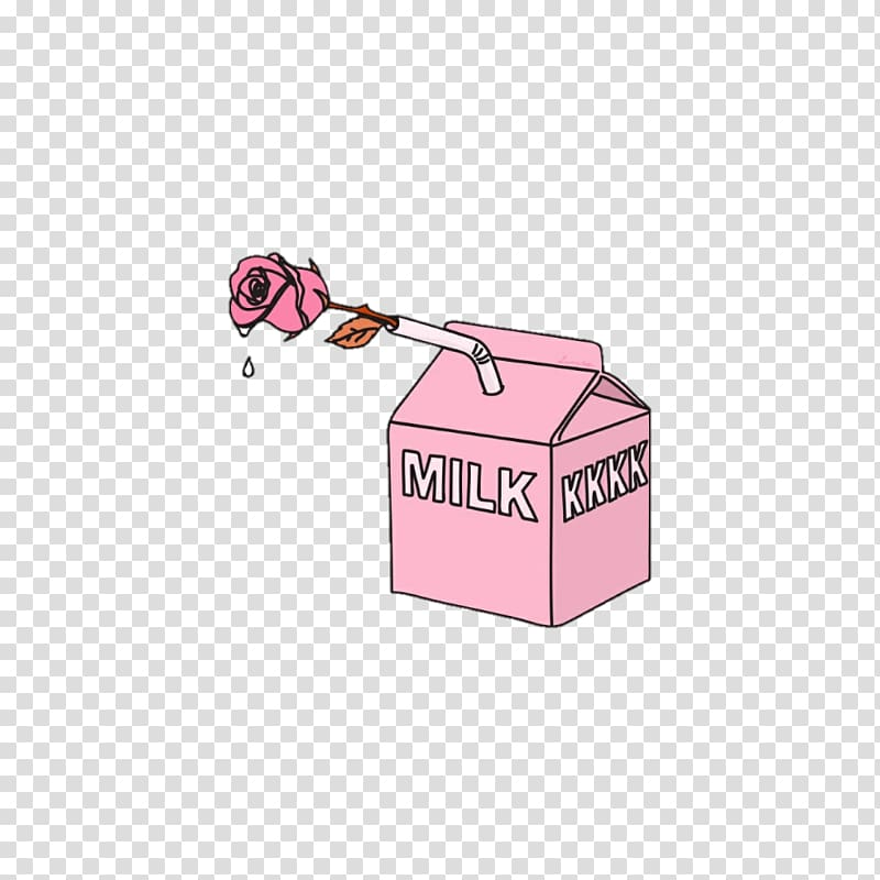 Ransparent aesthetic cliparts picture Pink rose and pink milk carton illustration, Aesthetics Art ... picture