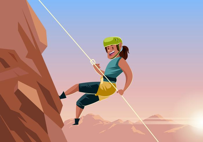 Rappelling clipart banner transparent library Woman Rappelling Down Mountain Vector - Download Free ... banner transparent library