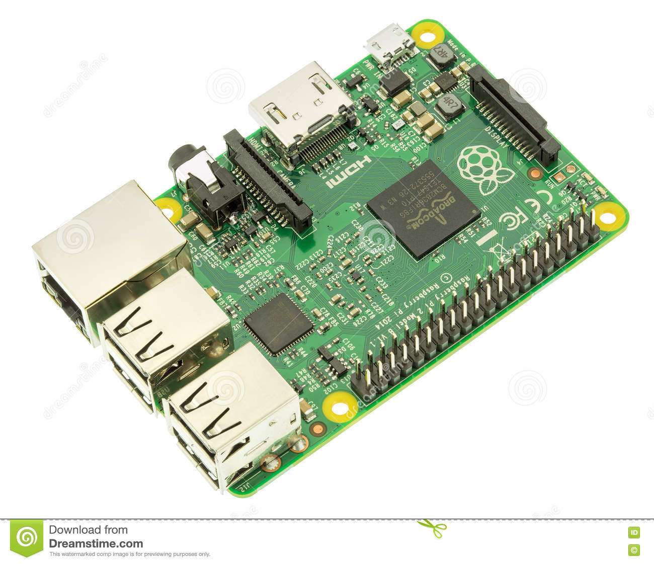 Raspberry pi 2 clipart png library stock Raspberry Pi 2 Model B Board Isolated On White Editorial Stock ... png library stock