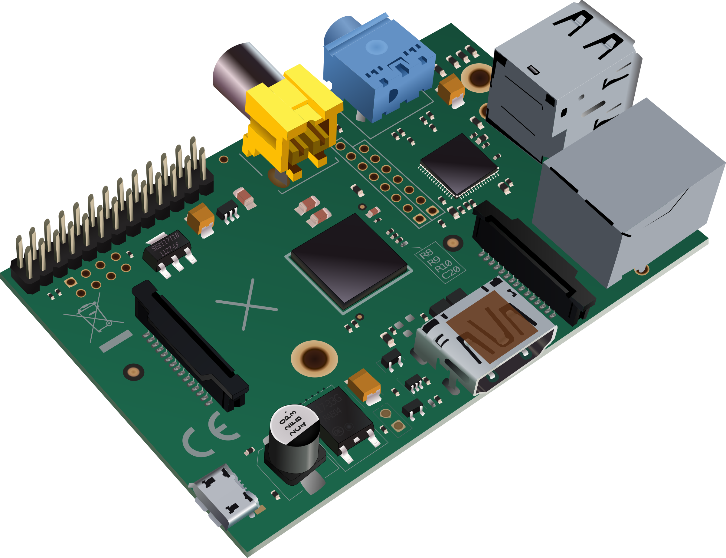 Raspberry pi 2 clipart picture free stock Clipart - Raspberry Pi type-B (no logo edition) picture free stock