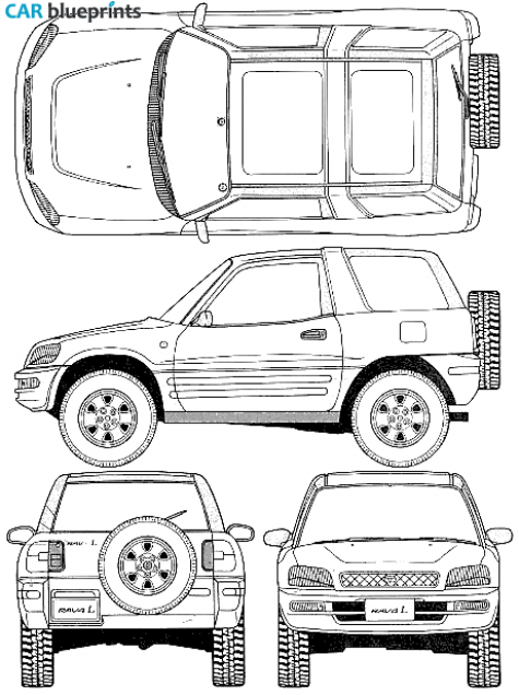 Rav4 clipart clipart free library CAR blueprints / 1996 Toyota RAV4 I 3-door SUV blueprint | I ... clipart free library