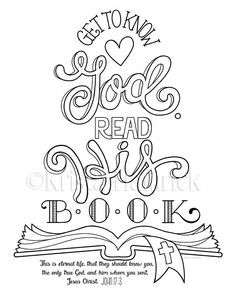 Read gods word clipart svg black and white stock Get to Know God, Read His Book! coloring page / Two sizes ... svg black and white stock