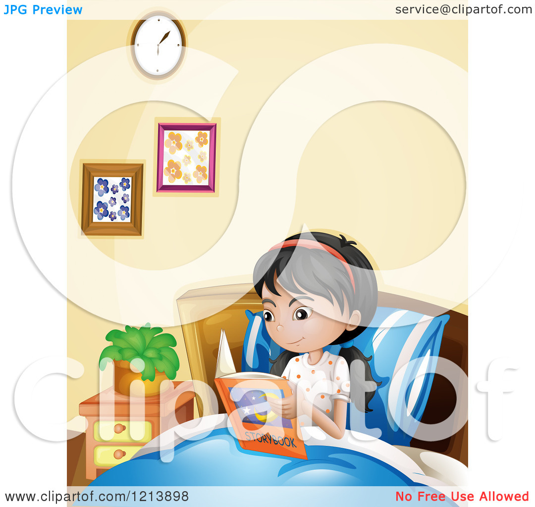 Reading a book in bed clipart svg royalty free download Cartoon of an Asian Girl Reading a Story Book in Bed - Royalty ... svg royalty free download