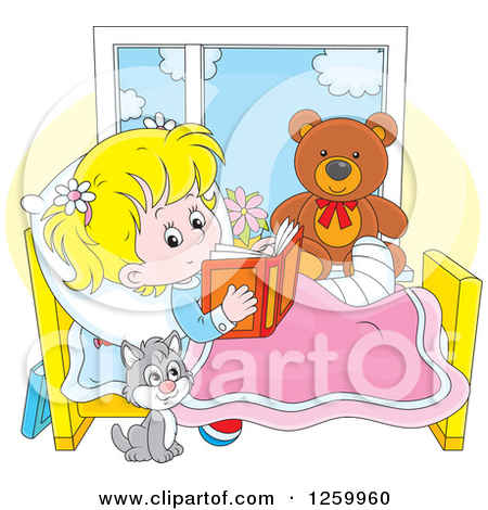 Reading a book in bed clipart png stock Clipart of a Happy Blond Caucasian Woman Reading a Book - Royalty ... png stock