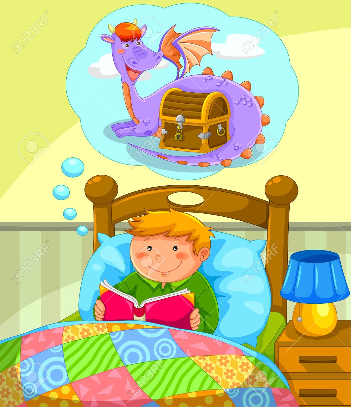 Reading a book in bed clipart vector library download Boy In Bed Reading A Book About Dragons Royalty Free Cliparts ... vector library download