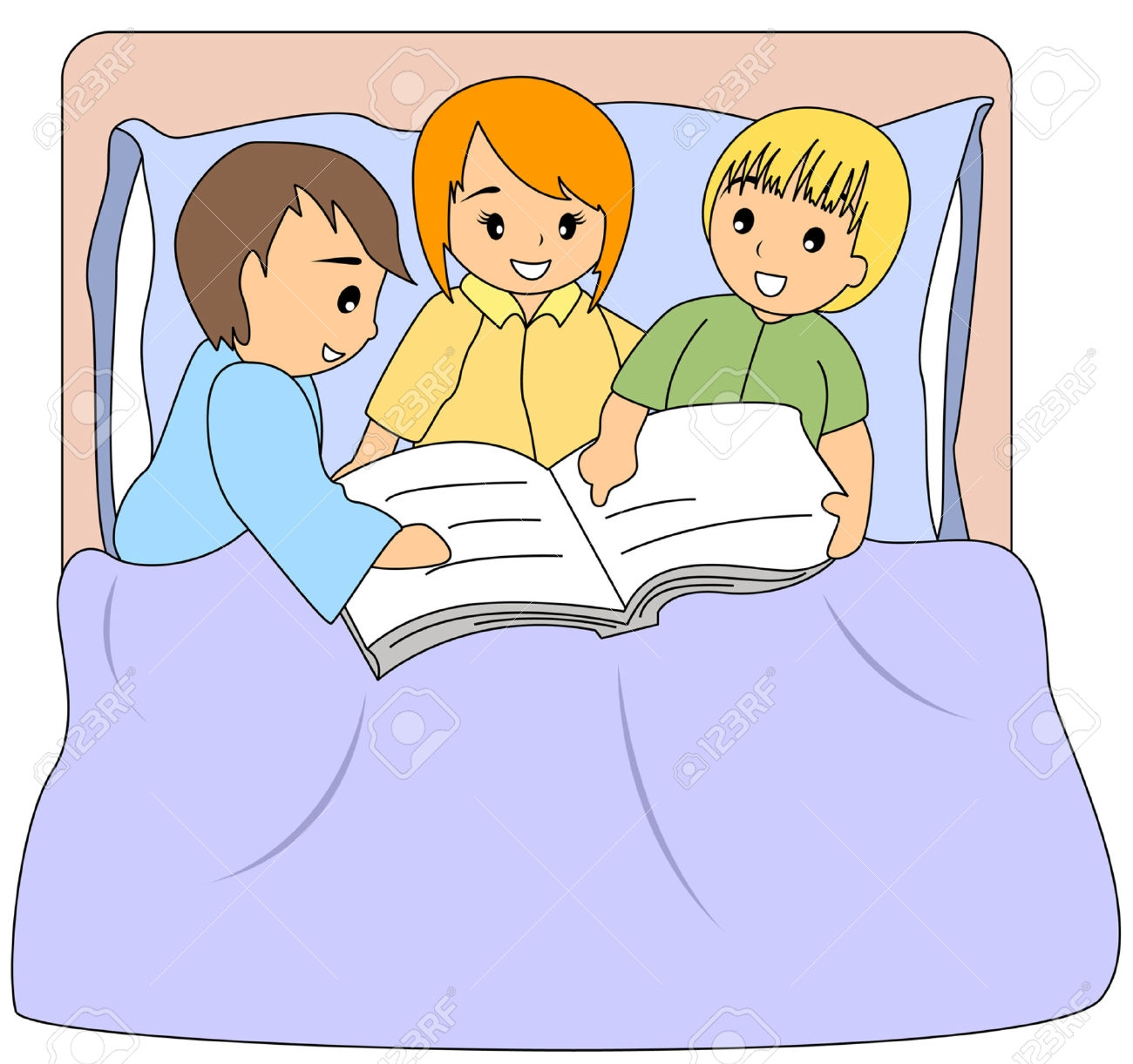 Reading a book in bed clipart image black and white Reading a book in bed clipart - ClipartFest image black and white