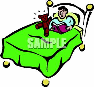 Reading a book on the bed clipart clipart black and white stock A Boy Laying In Bed, and Reading a Book, with a Stuffed ... clipart black and white stock